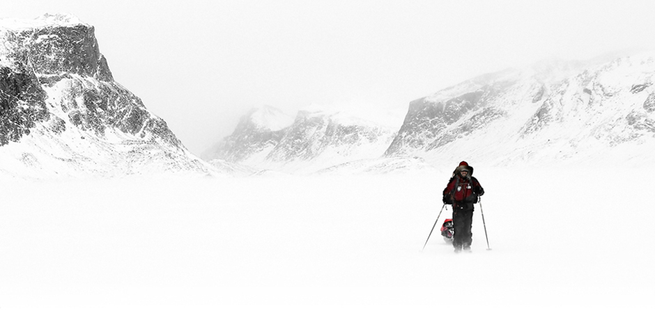 Aaron out of the pass toward Pangnirtung on Baffin Island, NU, Canada