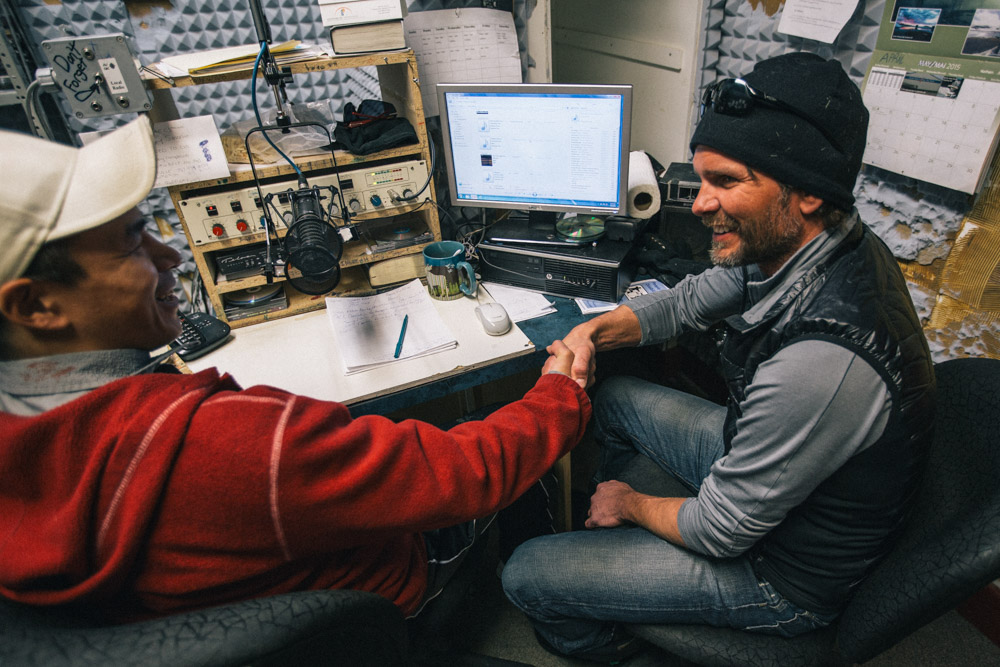 Aaron being interviewed on local radio, Pond Inlet